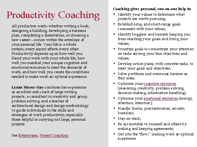 Productivity Coaching