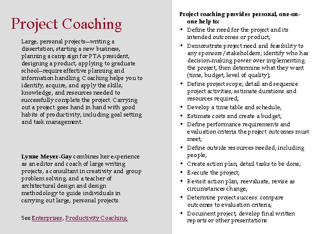 Project Coaching